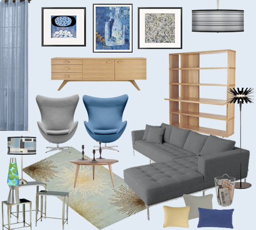 Mood Board Retro Mod Living Room