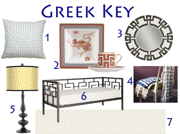 You can add a little or a lot of pattern to any room with the Greek Key.  Take a look and do a little window shopping